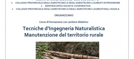 Corso di formazione con cantiere didattico Tecniche d'Ingegneria Naturalistica Manutenzione del territorio rurale